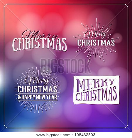 Happy Holidays Calligraphic Design Label On Defocus Background. Holidays Lettering For Invitation, G