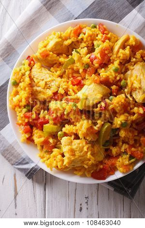 Arroz Con Pollo Close Up In A Bowl. Vertical Top View