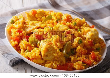 Hispanic Food: Arroz Con Pollo Close Up In A Bowl. Horizontal