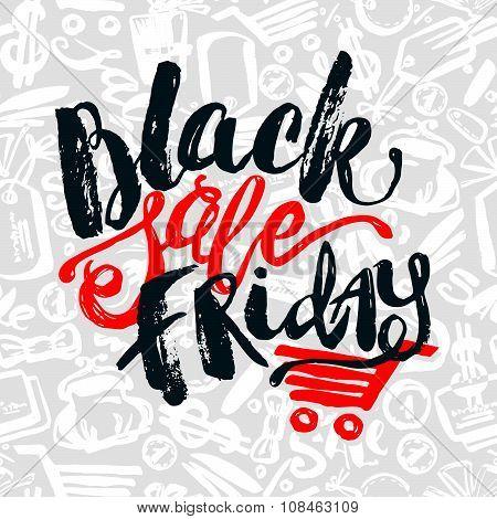 Black Friday Sale Hand Lettering Banner.