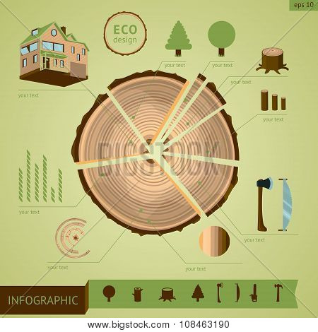 Wooden log with design elements.