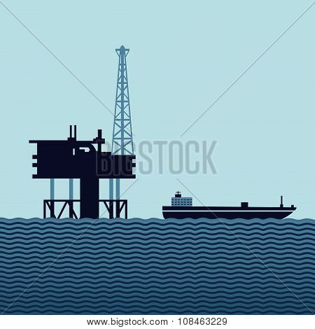 Sea oil platform with a tanker