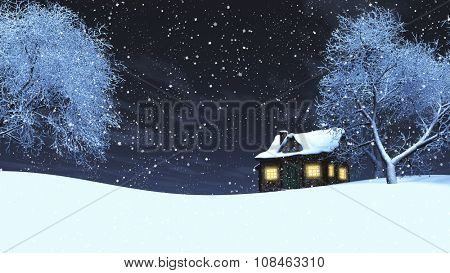 3D render of a timber house in a snowy landscape at night