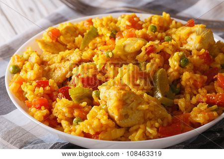 Rice With Chicken And Vegetables In A Bowl Macro. Horizontal