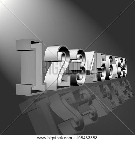 3D grey numbers
