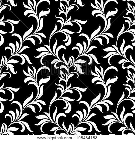 Seamless Pattern With White Floral Tracery On A Black Background