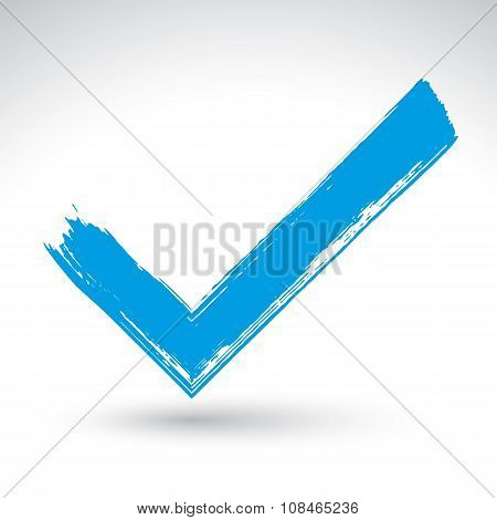 Brush drawing blue checkmark tick hand-painted navigation symbol isolated on white background.