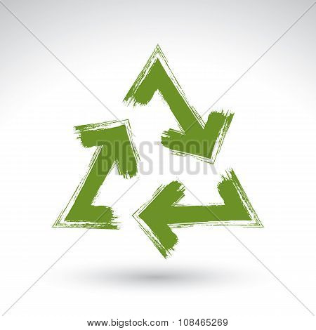 Hand-painted green loop Sign Isolated On White Background