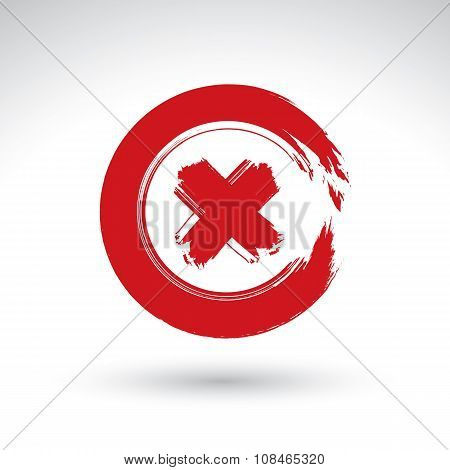 Brush drawing red close pushbutton hand-painted navigation symbol isolated on white background.
