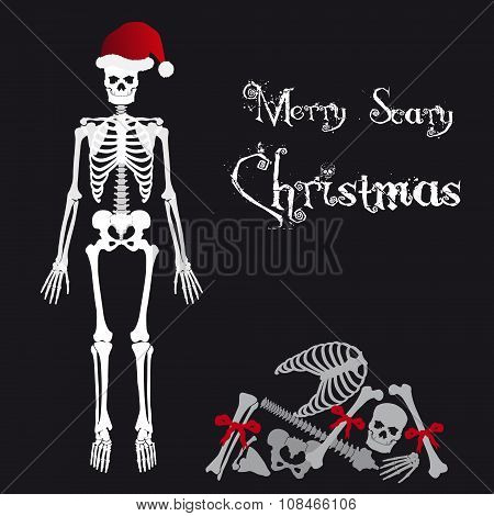 Santa Claus Skeleton Scary Christmas Greetings Card Eps10