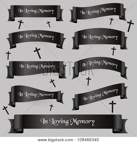 Black Funeral Ribbon Banners Set With Text Eps10