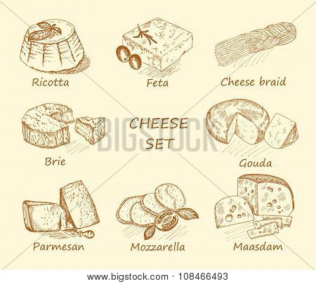 cheese set brown