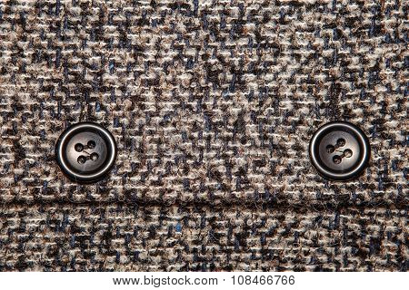Background Texture Of Twill With Two Big Black Buttons