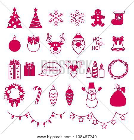 Christmas outline style icons set.