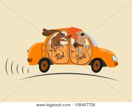 merry company in an orange car