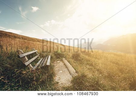 bench and the table for relaxing with a view on the Alps in Austria