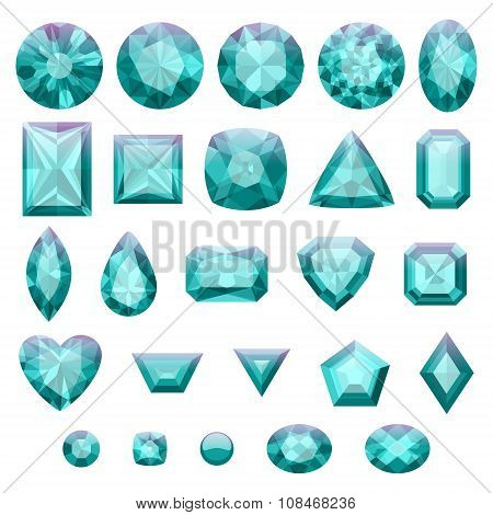 Set of realistic green jewels. Emeralds isolated.