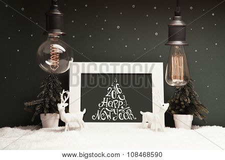 Christmas decoration with old lamps and deer. Retro