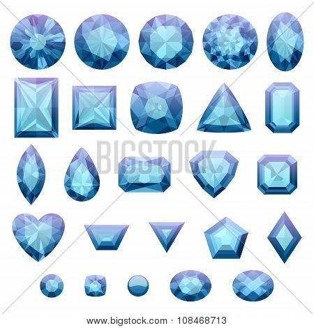 Set of realistic blue jewels. Sapphires isolated.