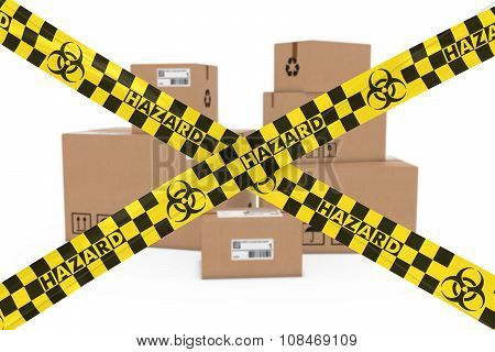 Biological Hazard Parcels Concept - Stack Of Cardboard Boxes Behind Biohazard Tape Cross