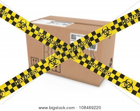 Chemical Mail Attack Concept - Suspicious Parcel Behind Biohazard Tape Cross