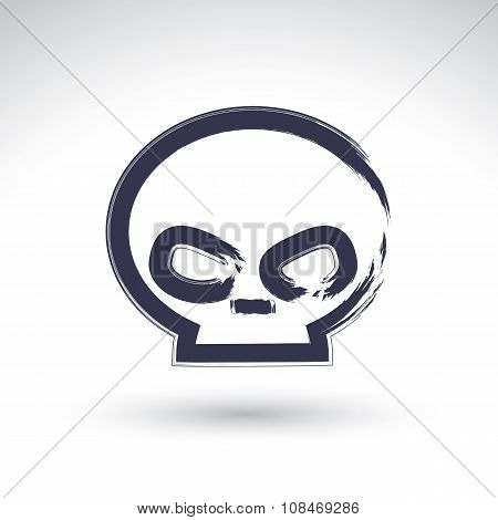 Brush Drawing Simple Human Skull, Painted Medicine Icon, Created With Real Hand Drawn Ink Brush