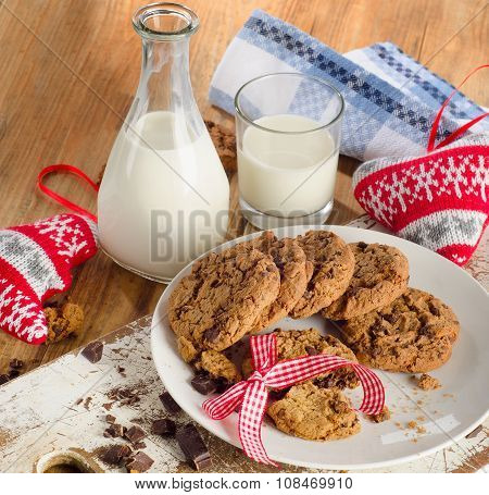 Chocolate Chip Cookies With Bootle Of Milk
