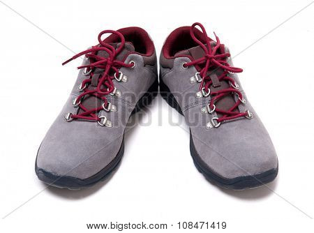 grey suede men shoes isolated on white background