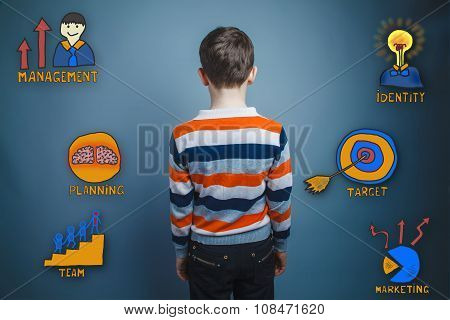 teenager boy turned his back looking in front of a collection of