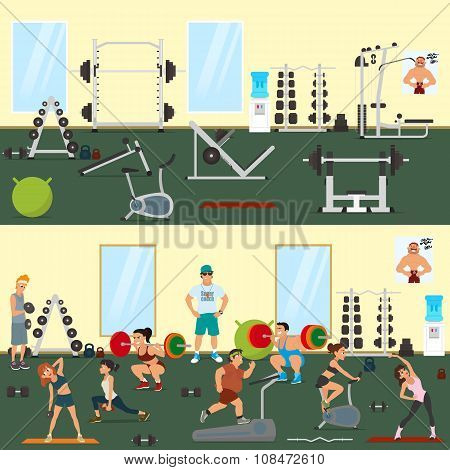 empty gym with exercise equipment. People engaged in the modern gym. vector illustration.