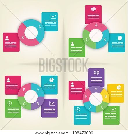Infographics presentation templates with 2, 3, 4 and 5 elements