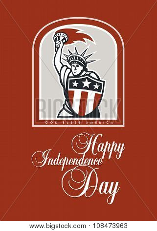 Independence Day Greeting Card-statue Of Liberty With Flaming Torch Shield