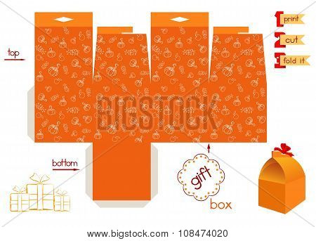 Printable Gift Box With Pumpkins Pattern