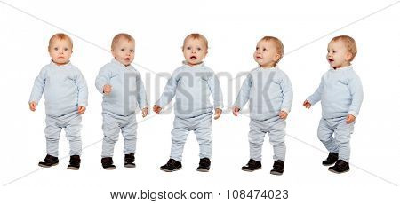 Sequence of little baby isolated on a white background