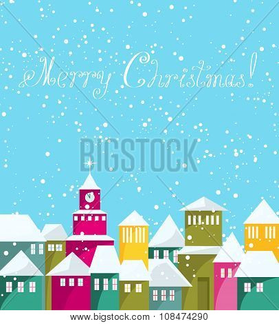 Colorful Winter City At Merry Christmas Card