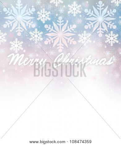 Beautiful Christmas greeting card border with wishes, falling snowflakes on blurry blue and pink background, text space, design for wintertime holidays