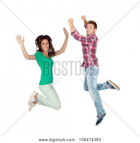 Young people jumping isolated on a white background