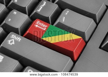 Enter Button With Congo Republic Flag