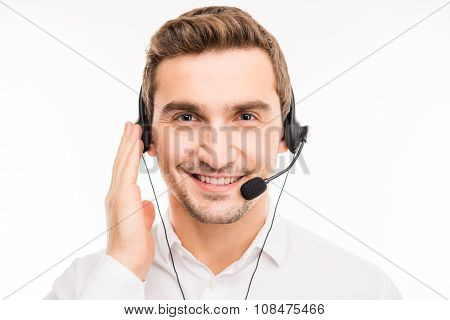 Young Confident Agent Consulting Clients On The Phone