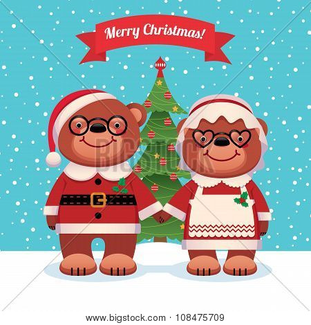 Santa Claus And His Wife Bears Christmas