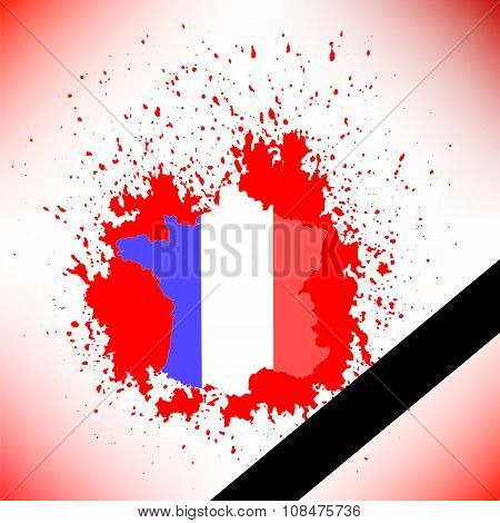 Map of France and Black Ribbon