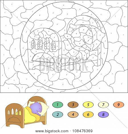 Color By Number Educational Game For Kids. Funny Cartoon Dragon Sleeping In His Crib. Vector Illustr