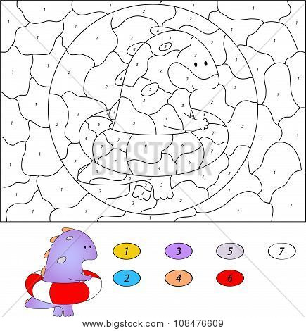 Color By Number Educational Game For Kids. Funny Cartoon Dragon Swimming With Rubber Ring. Vector Il