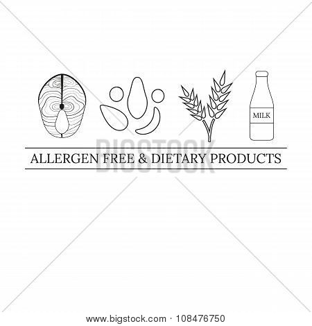 Logo design template with allergens icons.