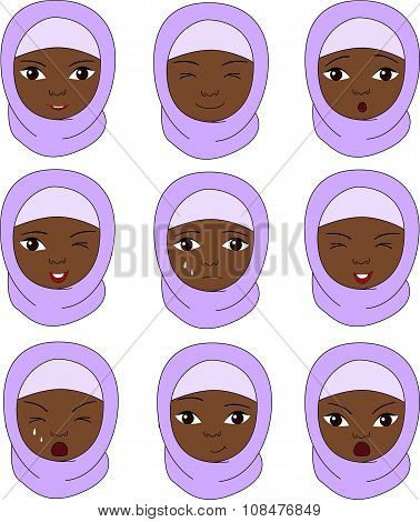 Muslim Girl In A Burqa Emotions: Joy, Surprise, Fear, Sadness, Sorrow, Crying, Laughing, Cunning Win