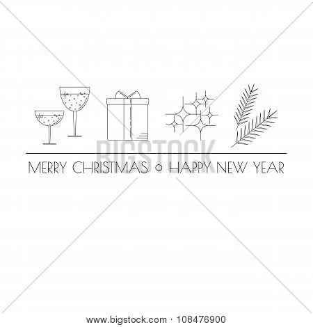 Linear Christmas icons with tag line.