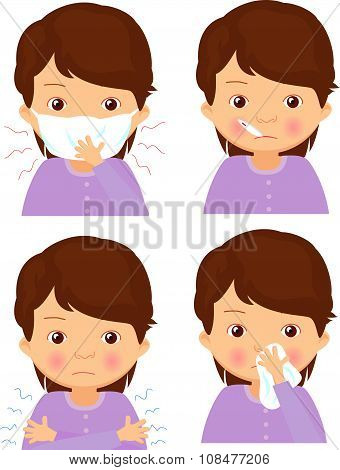 Sick Girl With Flu Mask, Thermometer And Handkerchief