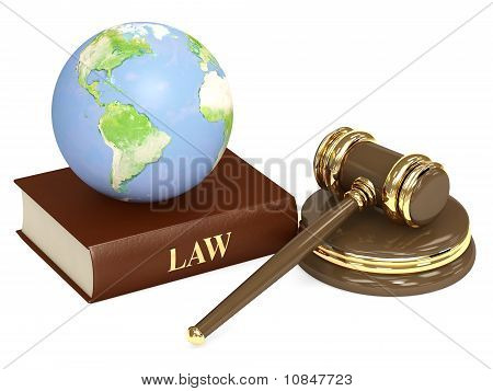 Judicial 3D Gavel And Earth