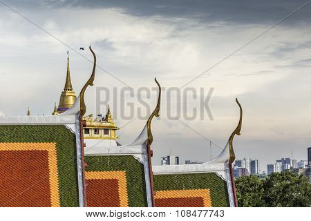 The Stupa At The Top Of Wat Saket, Also Known As The Golden Mount, In The Historic District Of Bangk