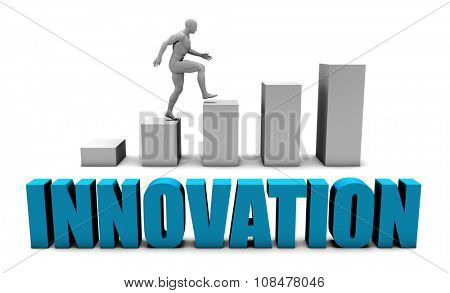 Innovation 3D Concept  in Blue with Bar Chart Graph
